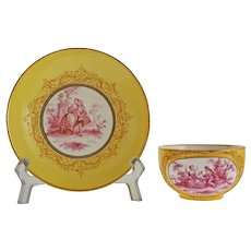 Meissen Yellow Puce Tea Cup Saucer Porcelain Crossed Swords Courting Couple - after 1815, Germany