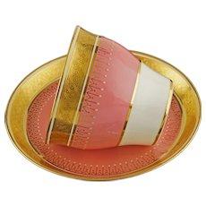 Minton Hot Pink Gilt Cabinet Cup & Saucer Gilt Enamel Porcelain - 1873-1912 Mark, England