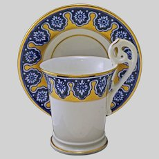 Antique Copeland Porcelain Coffee Can Cup and Saucer Blue Gold - 1891 to 1920 mark, England