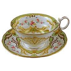 Antique Wedgwood Porcelain Tea Cup Saucer Gold Green - c. 1900's, England