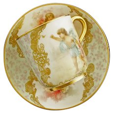 Antique English Brownfields Porcelain Demitasse Cabinet Cup Cherubs Putti Children - circa 1890, England