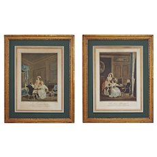 Pair French Geraud Vidal after Nicolas Lavreince Etchings Framed - c. 1800's, France