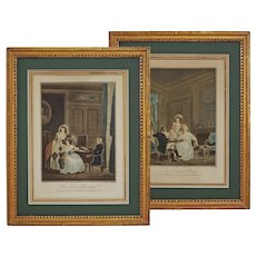 Pair French Etchings Geraud Vidal after Nicolas Lavreince Etchings Framed - c. 1800's, France