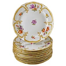 Set 10 KPM Neuzierat Dessert Plates Gilt Porcelain Scepter Mark - post 1832, Germany