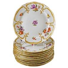 Set 10 KPM Neuzierat Dessert Plates Gilt Porcelain Scepter Mark - post 1832, Germany