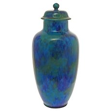 "Paul Milet MP Sevres Large 13 3/4"" Turquoise Glazed Pottery Vase / Urn Art Deco - circa 1920's, France"