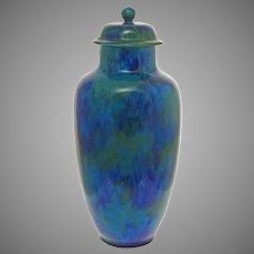 "Paul Milet MP Sevres Large 13 3/4"" Turquoise Glazed Pottery Vase / Urn Art Deco - circa 1920's, France"