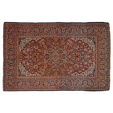 Persian Accent / Foyer / Entrance Rug Medallion Floral Red Blue Camel 3.5' x 5.5'