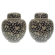 Pair Chinese Prunus Ginger Jars with Lids Cloisonne Black White
