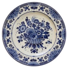 Zenith Gouda Floral Wall Plate Charger Basket Floral Large - 20th Century, Holland