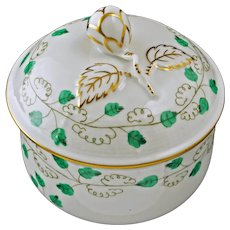 Herend Sabina Vert Pattern SABV Jelly Jam & Lid Porcelain - 20th Century, Hungary