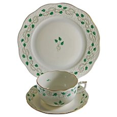 Herend Trio Sabina Vert SABV Cup Saucer Plate Set Porcelain - 20th Century, Hungary