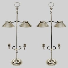Pair French Two-Light Bouillotte Desk or Table Lamp Adjustable Candle Stands