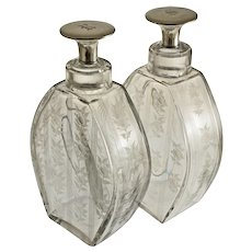 Pair American H.P. Sinclaire Decanters and Sterling Mounted Stoppers - circa 1904–28, Corning, NY
