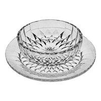 Set 8 Val St Lambert Dessert Bowl and Underplate Modern Cut Crystal VSL Imperial Pattern - 20th Century, Belgium