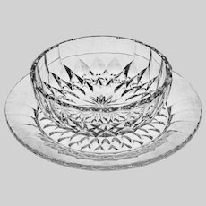 Set 8 Val St Lambert Dessert Bowl and Underplate Modern Cut Crystal VSL Imperial Pattern - 20th Century, Belgium