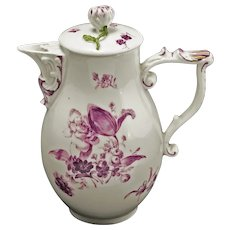 18th Century Baroque Meissen Hot Water Jug and Cover Puce Camaieu Crossed Swords - circa 1750, Germany