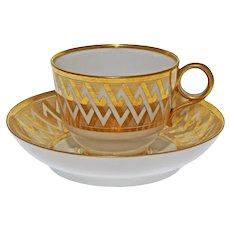 Antique Barr, Flight & Barr Geometric Gilt Tea Cup and Saucer Worcester - 1804–1813, England