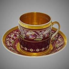 Georgian Porcelain Botanical  Coffee Can / Cup Saucer Set Gilt Interior