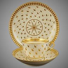 Georgian Spode Trio Hand Gilded Ermine Pattern Tea Cup Saucer Plate English Porcelain - pre 1833, England