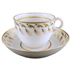 Georgian Minton Gilded Feather Tea Cup Saucer Pattern 101 English Porcelain - c. 1805-16, England
