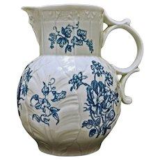 English Cabbage Leaf Mask Head Jug Blue White Porcelain Large England