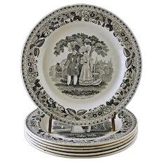 Set Six 1830's Creamware Plates Choisy Paillart & Hautin Sotheby's Label Black Transferware Courting Scenes Scheffer - c. 1824-36, France