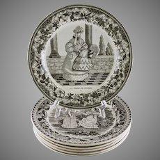 Set 6 French Creamware Transferware Plates Choisy Paillart & Hautin Assiette Parlante - circa 1824-1836, France