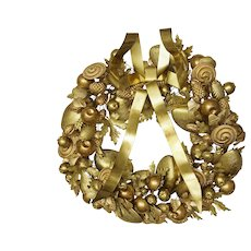 "Large 15"" Petit Choses Dresden Brass Holiday Wreath Shells Pine Cones Door Ornament"