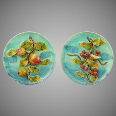 Pair French Majolica Trompe l'oeil Cherry Bird Apple Plates in Relief Three Dimensional