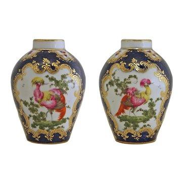 Pair Porcelain Tea Canisters / Caddies / Jars Exotic Chelsea Birds Scale Blue Square Fret Mark