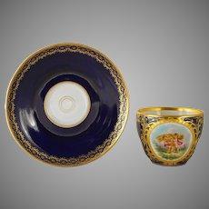 Antique KPM Berlin Cherub Putti Cup Saucer Porcelain Sceptre Cross Orb Mark - 1800's, Germany