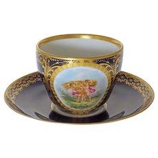 KPM Berlin Porcelain Cup and Saucer Cobalt Summer Allegory - 1849-1870 mark, Germany