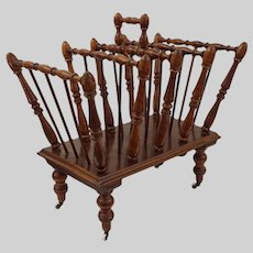 Canterbury / Magazine Rack Turned Wood Spindles Brass Casters Porcelain Wheels Handle