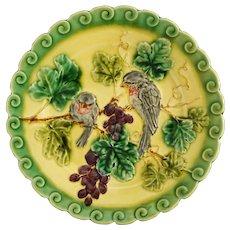 Antique Sarreguemines Majolica Birds Grapes Plate Yellow Green - 1835 - 1900 mark, France