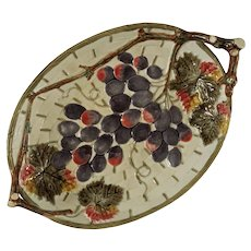 Antique Wedgwood Majolica Oval Serving Platter Twig Handles Grapes M2914 - c. 1880, England