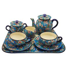 French Longwy Art Deco Style Enamel Art Pottery Tea Set Faience Majolica