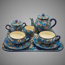 French Longwy Art Deco Style Enamel Art Pottery Tea Set Faience Majolica