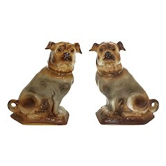 Pair Staffordshire Pug Dogs Glass Eyes Antique Large Seated Mantle Figures Pottery - c. 1880, England