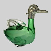 Green Glass Duck Austria Novelty Decanter / Carafe / Pitcher / Jug / Claret Silverplate Head - circa 20th C., Austria