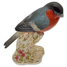 Royal Worcester Bullfinch Bird Figurine Perched on Branch Porcelain - 20th Century, England