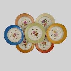 Set 8 KPM Botanical Dessert Plates Signed Scepter Mark Porcelain - 1945-1962 mark, Germany