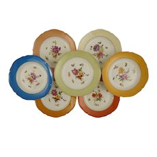 Set 8 KPM Botanical Dessert Plates Signed Scepter Mark Porcelain - 1945-1962 mark, Germany