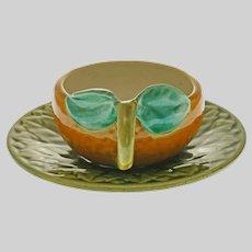 Trompe l'Oeil Majolica Sarreguemines Orange Cup Saucer Barbotine - 1920 to 1950 mark, France