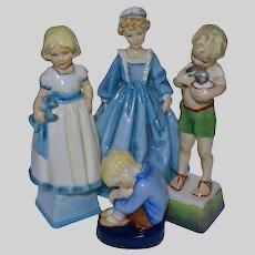 Set 4 Royal Worcester Child Figurine Collection - circa 1950's, England