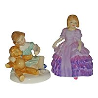 Set Two Royal Doulton Child Porcelain Figurines Rose and My Teddy - circa 1960's, England
