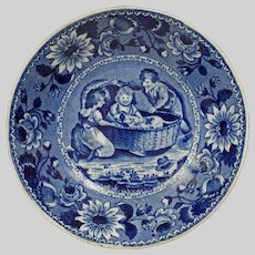 Clews Staffordshire Dog Children Blue Transferware Bowl Family Dog in a Cradle - 1814-1834, England