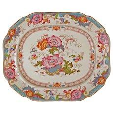 "Cauldon 16 1/2"" by 14"" Large Serving Platter Bentick Pattern Turquoise Pink - circa 1910-1920, England"