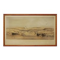 Siege of Sevastopol Antique Topographical View Lithograph Framed Large - 19th Century, England