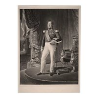Louis Philippe King of France Mezzotint Print Full Length Portrait Girard after Hersent - 19th Century, France